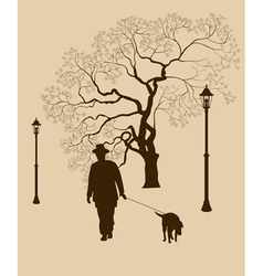 Loneliness a walk in the park man with a dog vector image