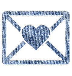 Love letter fabric textured icon vector