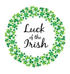 Luck irish in shamrock circle frame vector