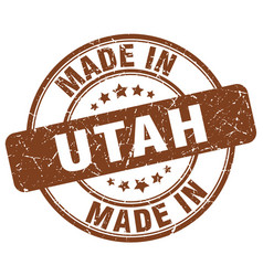 Made in utah brown grunge round stamp vector