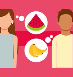 Man and woman talking of fruits fresh banana vector