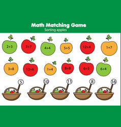 math educational game for children matching vector image