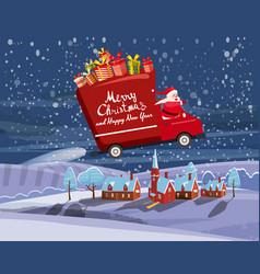 merry christmas santa claus van flies through vector image