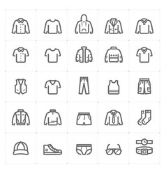 Mini icon set - clothing man icon bold line style vector