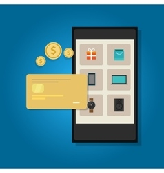 mobile commerce online credit card smart phone vector image