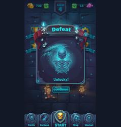 Monster battle gui defeat playing field vector