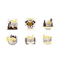 national park logo templates design set vector image