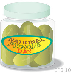 national pickle day sign and logo vector image