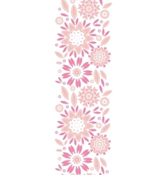 Pink abstract flowers vertical seamless pattern vector image