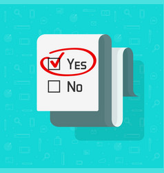 Poll survey form document with yes selected vector