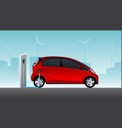 Red electric car with charging station vector