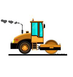 road roller sets asphalt vector image