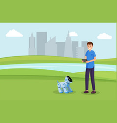 robot dog toy flat vector image