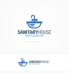 Sanitary house logo set with sink vector