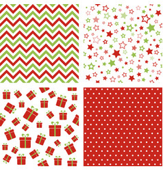 set christmas patterns seamless backgrounds vector image