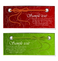 Set of banners with bow and tape vector