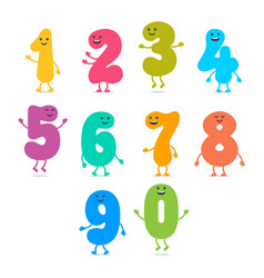 set of funny colorful number characters vector image