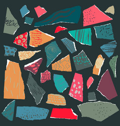 Set pieces torn paper with abstract vector