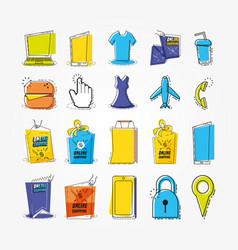 shopping online pop art set icons vector image