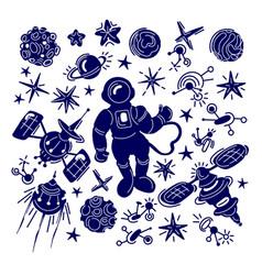 Space set graphic sketch fantasy cosmo galaxy vector
