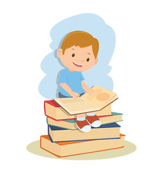student boy learning and reading book vector image
