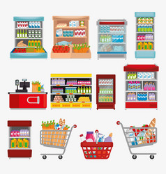 Supermarket shelvings with products vector