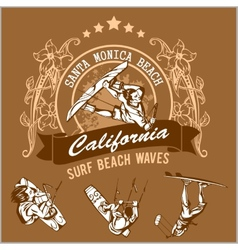 Surfing - label and surfers vector