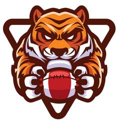 tiger american football mascot vector image
