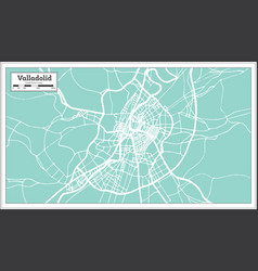 valladolid spain city map in retro style outline vector image