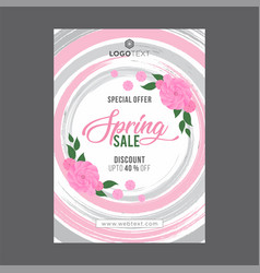 Vintage pink and grey spring poster with roses vector