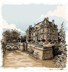 vintage view chateau de rosay eure france vector image