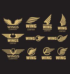 Wings logo collection - golden auto logo vector