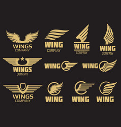 Wings logo collection - golden auto wings logo vector