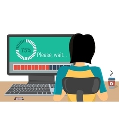 Woman on the workplace - update vector image
