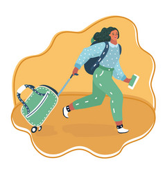 woman running with a suitcase cart vector image