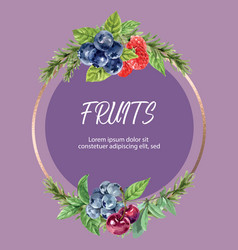 Wreath design with berry frame watercolor element vector