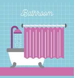 bathroom shower bathtub with curtain and blue tile vector image vector image