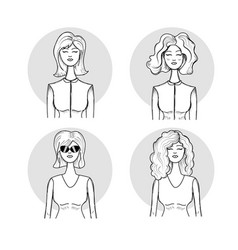 hand drawn set women face with hairstyle vector image