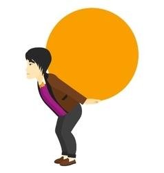 Man carrying big ball vector image