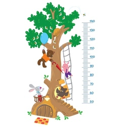 Meter wall with big tree and funny animals vector image vector image