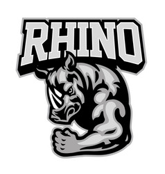 Rhino mascot showing his muscle arm vector