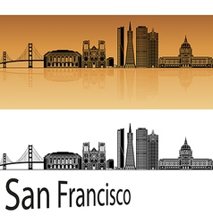 San Francisco skyline in orange vector image vector image