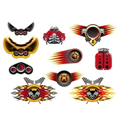Colorful motor sport and racing icons vector image