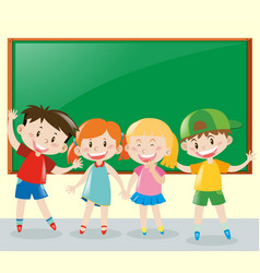 four students having fun in classroom vector image vector image
