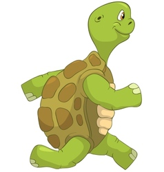 Funny turtle running vector