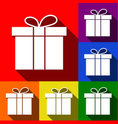 gift box sign set of icons with flat vector image vector image