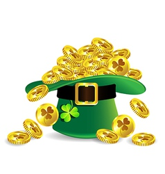 Gold coin in green St Patricks Day hat vector image