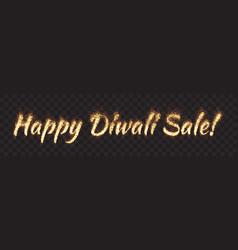 happy diwali sale text banner vector image