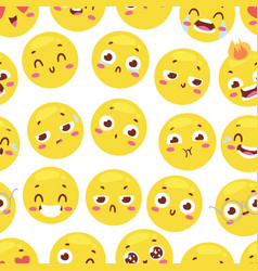 seamless pattern with cheerful happy smileys for vector image vector image
