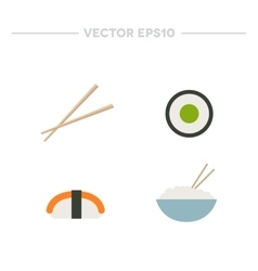 Asian food rice with chopsticks rolls and sushi vector image